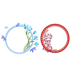 wreath set with flowers herbs bluebell snowdrop vector image