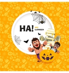 banner Happy Halloween with the characters vector image