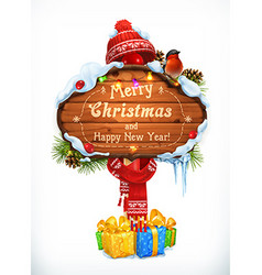 Christmas wooden sign Merry Christmas and Happy vector image