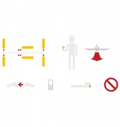 civil aviation icons vector image vector image