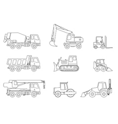 Construction machines thin icons vector image
