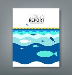 Cover Annual report concept fish on blue sea vector image