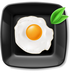 Fried eggs served on black plate vector image