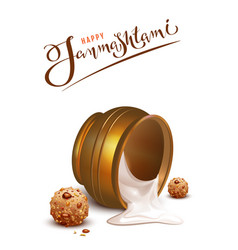 happy janmashtami lettering text and overturned vector image