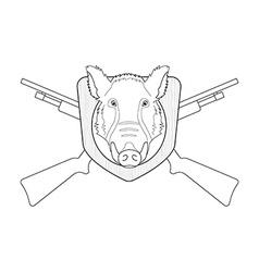 Hunting trophy Stuffed wild boar head Line-art vector image