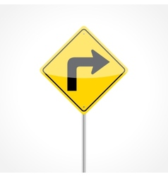 Right Turn Sign vector image vector image