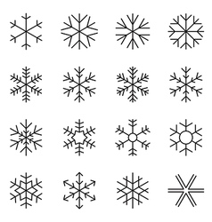 Thin line simple snowflake icons vector image vector image