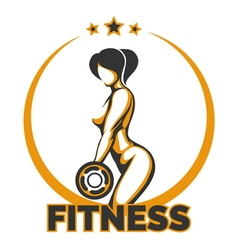 Training Girl Fitness Emblem vector image vector image