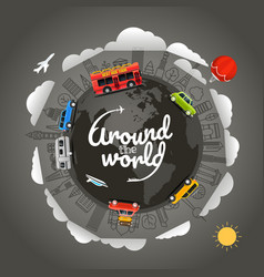 travel around the earth around the world vector image vector image