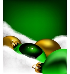 Xmas greeting card christmas gold and green toys vector