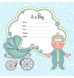Baby shower card for newborn boy with a sidecar vector image