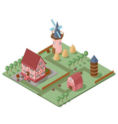 isometric farming concept vector image vector image