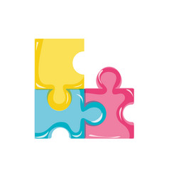 puzzles pieces game to idea solution vector image