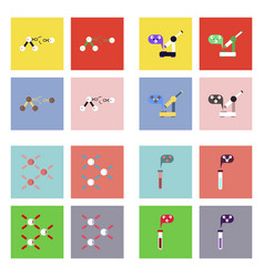 Set of molecule icons biology elements on color vector