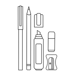 Stationery writing tools set Contour vector image