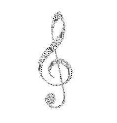 Treble clef sign made up from black music notes on vector image vector image