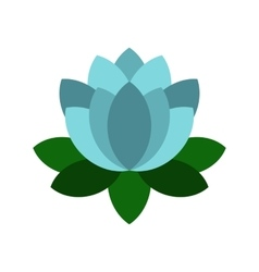 Blue lotus flower icon flat style vector image