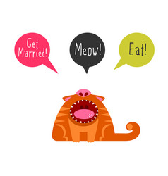 flat cat with speech bubbles vector image vector image