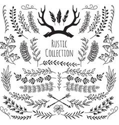 hand drawn vintage branches wreath border frames vector image