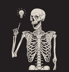 human skeleton has an idea isolated over black vector image