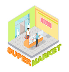 supermarket fish department isometric vector image vector image