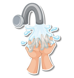 A sticker template hands with water tap vector