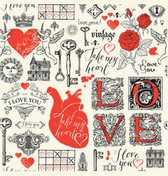 abstract seamless pattern on love theme vector image