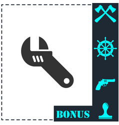 adjustable wrench icon flat vector image