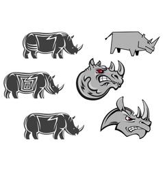 African rhinoceros characters vector