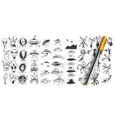 aliens doodle set vector image