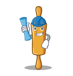 Architect rolling pin character cartoon vector