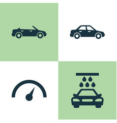 Automobile icons set collection of transport vector