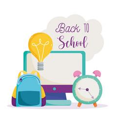 back to school computer backpack clock idea vector image