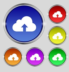 Backup icon sign Round symbol on bright colourful vector