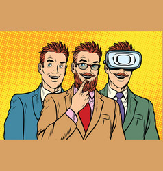 Band trendy retro businessmen vr glasses vector