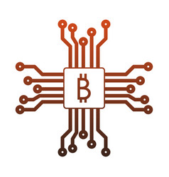 Bitcoin microchip symbol red lines vector