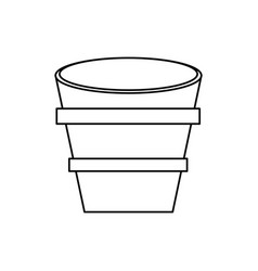 bucket wooden container outline vector image