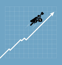 Businessman flying up above the chart vector