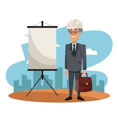Businessman on construction zone cartoon vector