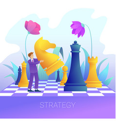 Businessman with chess pieces business strategy vector
