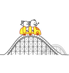 Cartoon couple on roller coaster vector