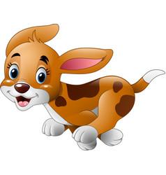 cartoon little dog running vector image