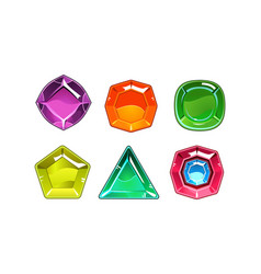 Cartoon set of 6 shiny gemstones of vector