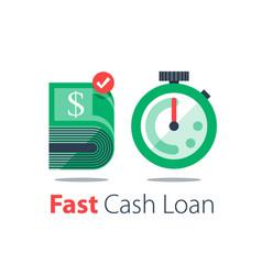 Cash back bundle bills and stopwatch easy vector