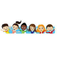 Cheerful children waving their hands vector