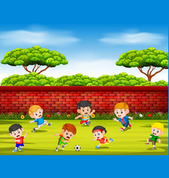 children playing soccer with their team vector image