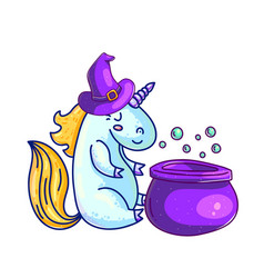 creative halloween unicorn in witch hat vector image