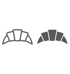 Croissant line and glyph icon pastry and food vector