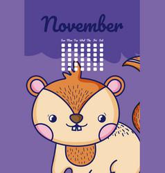 Cute chipmunk calendar cartoon vector