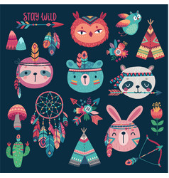 cute woodland boho tribal characters on dark vector image